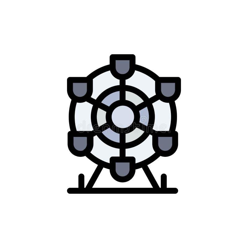 Ferris, parque, rueda, icono plano del color de Canadá Plantilla de la bandera del icono del vector ilustración del vector