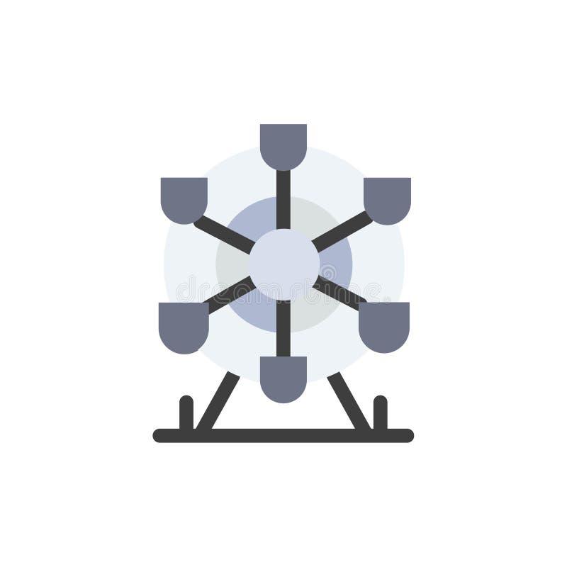Ferris, parque, rueda, icono plano del color de Canadá Plantilla de la bandera del icono del vector stock de ilustración
