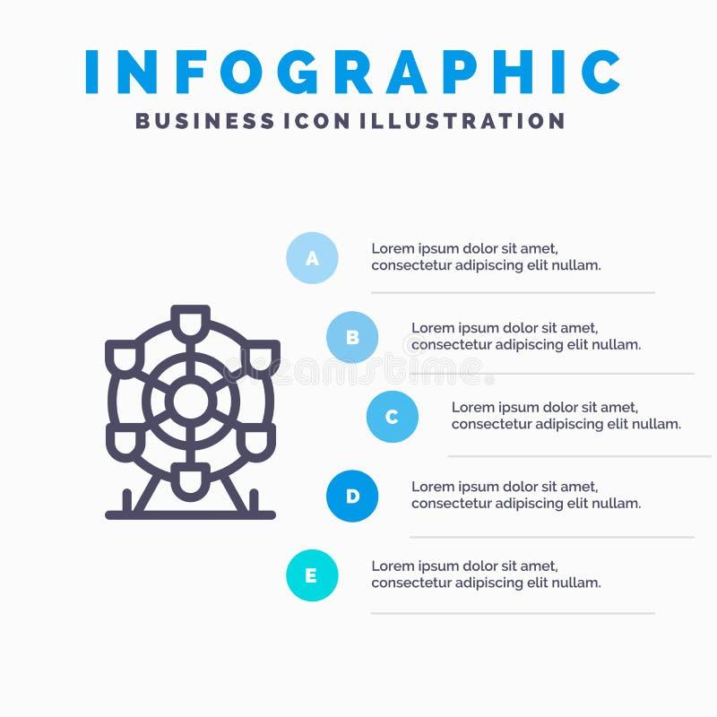 Ferris, parque, rueda, línea icono de Canadá con el fondo del infographics de la presentación de 5 pasos libre illustration