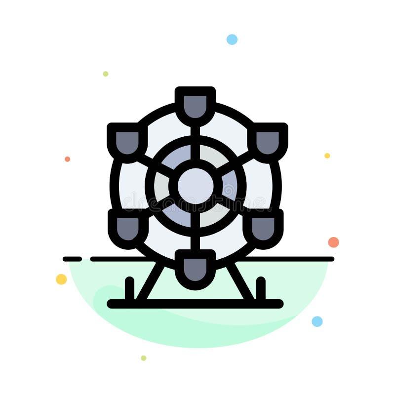 Ferris, parque, rueda, plantilla plana del icono del color del extracto de Canadá libre illustration