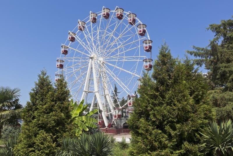 Ferris roda dentro a estância turística do ` do parque do metro do ` do parque de diversões de Adler, Sochi foto de stock