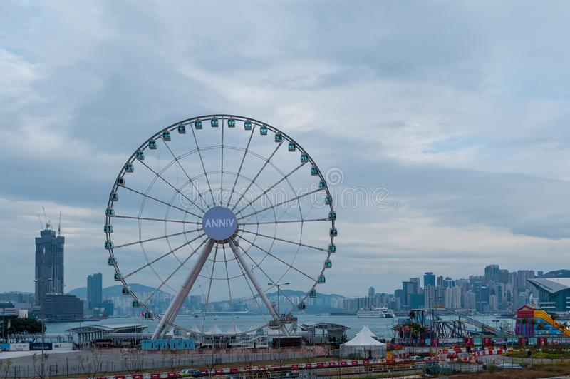 Ferris Toczy wewnątrz Hong Kong obrazy stock