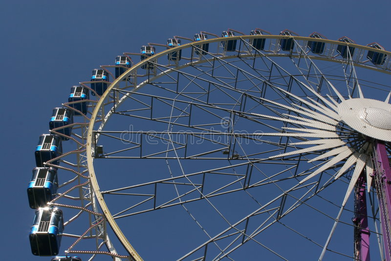 Ferris Wheel. View from the low point stock photo