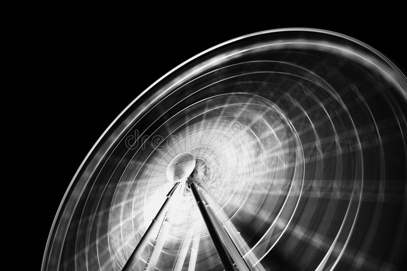 Ferris wheel. At night photographed with long exposure implying motion royalty free stock photo