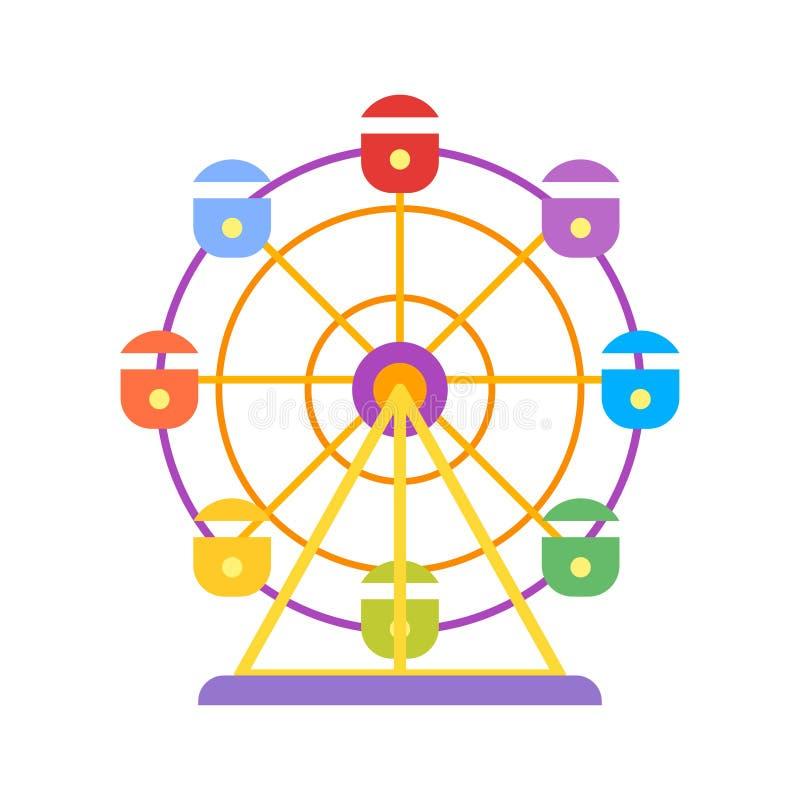 Ferris Wheel Aislado en el fondo blanco Icono para el Web stock de ilustración