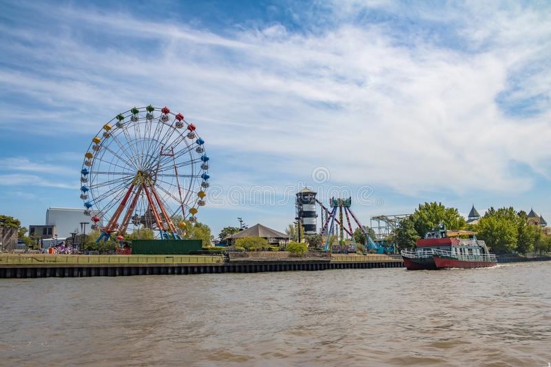 Ferris Wheel and amusement park in Lujan River - Tigre, Buenos Aires, Argentina royalty free stock image