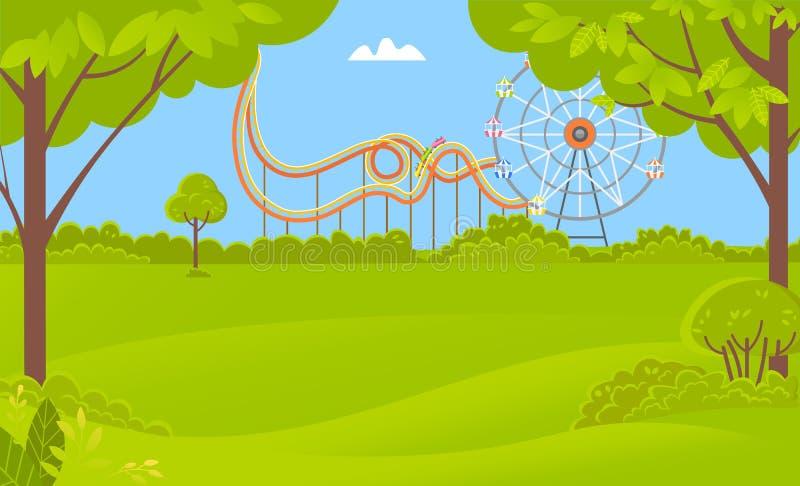 Ferris Wheel Amusement-Park, montaña rusa, árboles ilustración del vector
