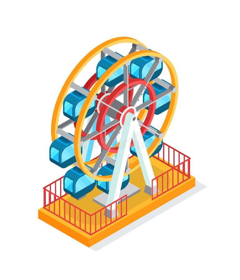 Ferris Wheel Attraction para la gente durante días de fiesta ilustración del vector