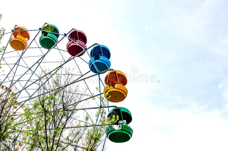 Ferris wheel on the blue sky background stock photo