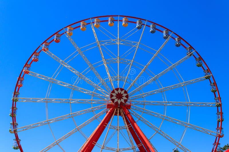 Ferris wheel on background of blue sky in Gorky Park stock photos