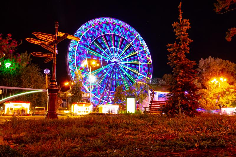 Ferris wheel on the banks of the Amur river in Khabarovsk. Russia. royalty free stock image