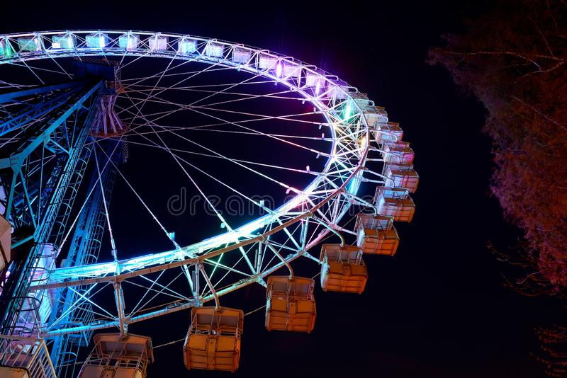 Ferris wheel with blue lighting and trees at night stock image
