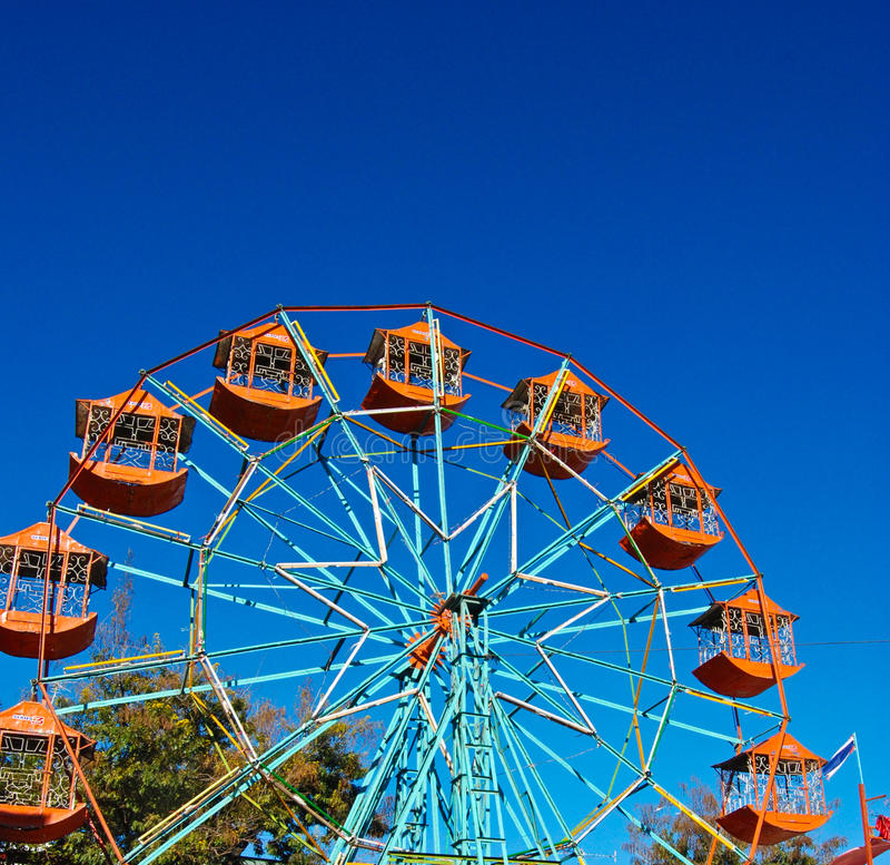 the ferris wheel in blue sky royalty free stock photography