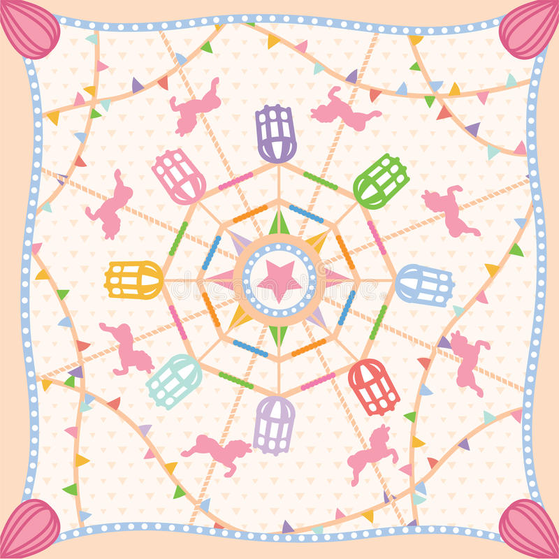 Ferris wheel carnival pattern scarf vector stock photos