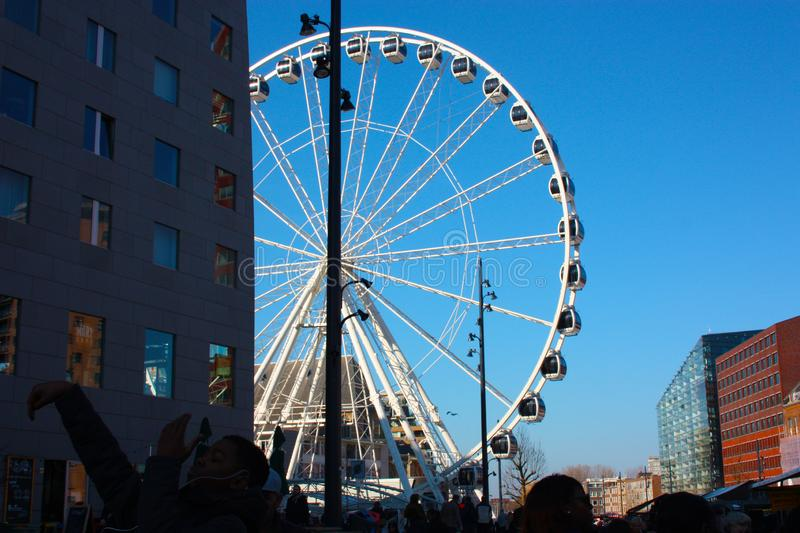 Ferris wheel in the central square of Rotterdam royalty free stock photography