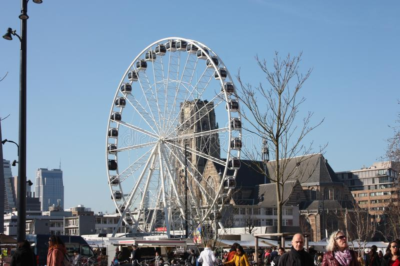 Ferris wheel in the central square of Rotterdam stock photos
