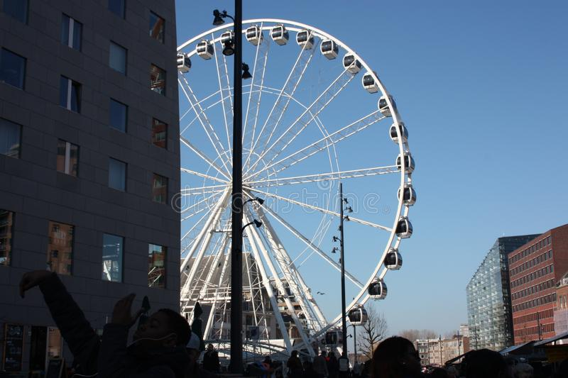 Ferris wheel in the central square of Rotterdam stock images