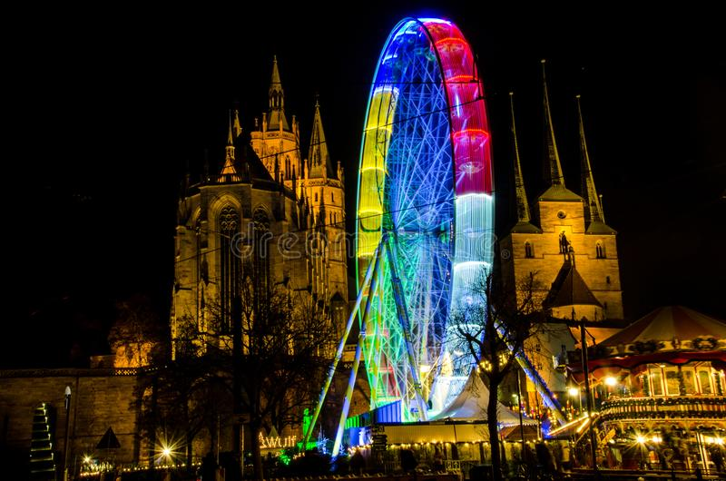17.12 063 Ferris wheel at the Christmas fair in Erfurt royalty free stock image
