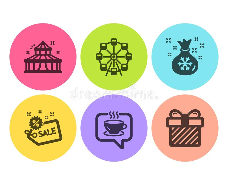 Ferris wheel, Coffee and Circus icons set. Santa sack, Sale and Surprise signs. Attraction park, Cafe. Vector. Ferris wheel, Coffee and Circus icons simple set vector illustration