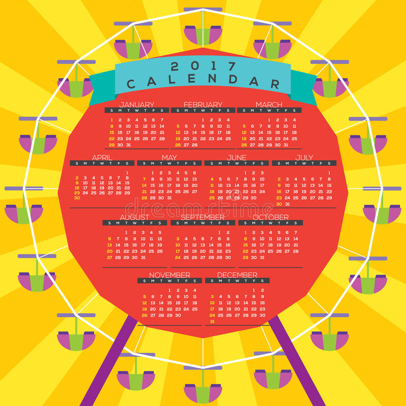 Ferris Wheel colorido 2017 comienzos imprimibles domingo del calendario stock de ilustración