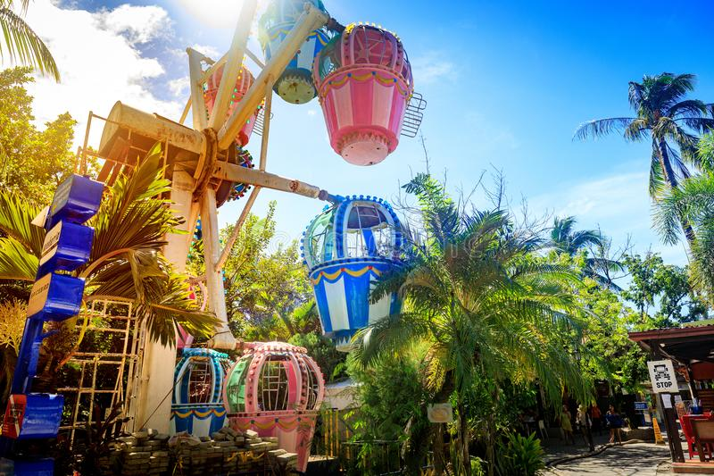 The Ferris wheel at D-mall Boracay Island on Nov 19, 2017 in Phi royalty free stock images