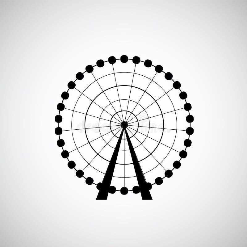Ferris Wheel del parque de atracciones, silueta del vector stock de ilustración