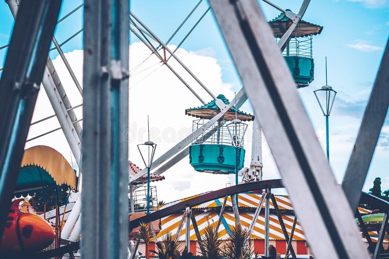 Ferris Wheel. Details in nice colors royalty free stock images