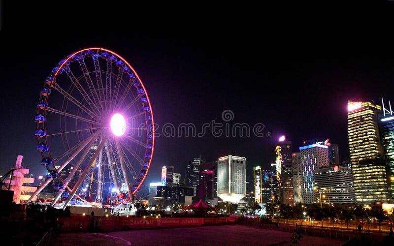 Ferris Wheel em Hong Kong central imagens de stock royalty free