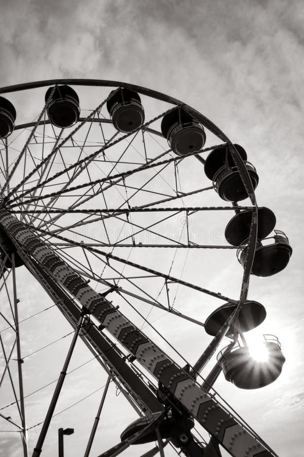 Ferris Wheel Fairground Amusement Ride at Sunset stock photography