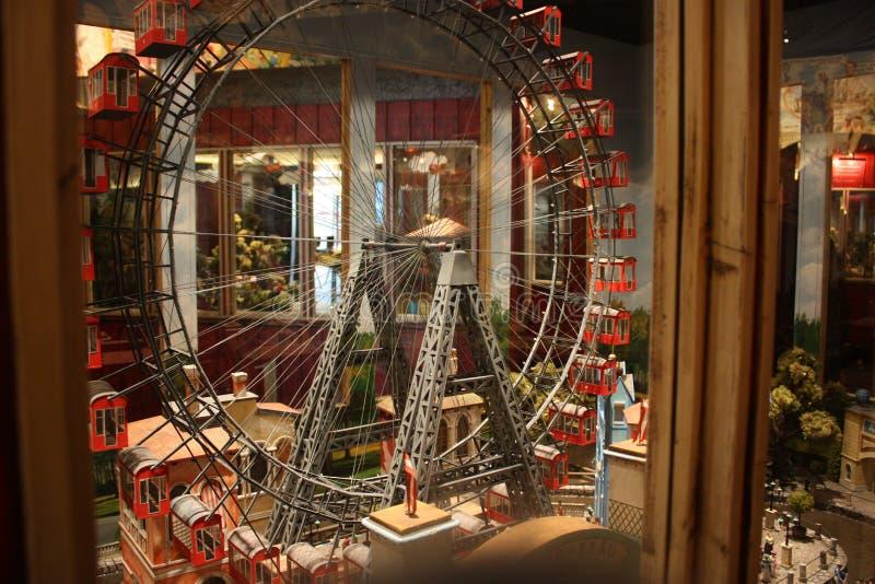 Ferris Wheel famoso e histórico Museu no parque de Prater, Viena fotografia de stock