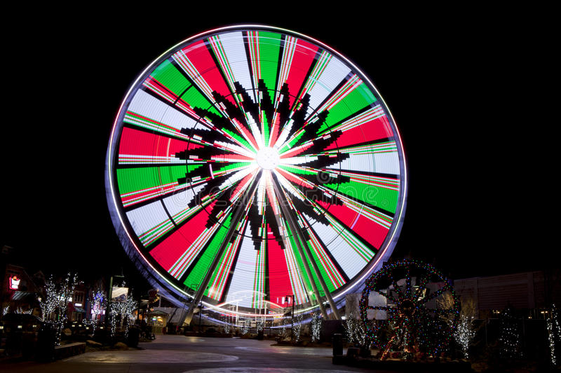 Ferris Wheel in Gatlinburg, Tennessee during the Christmas Holidays stock photo