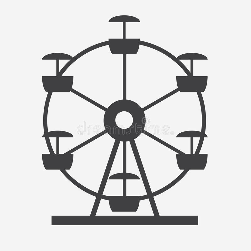 Download Ferris Wheel Icon Silhouette. Entertainment Round Attraction. Stock Vector - Illustration of structure, entertainment: 81340443