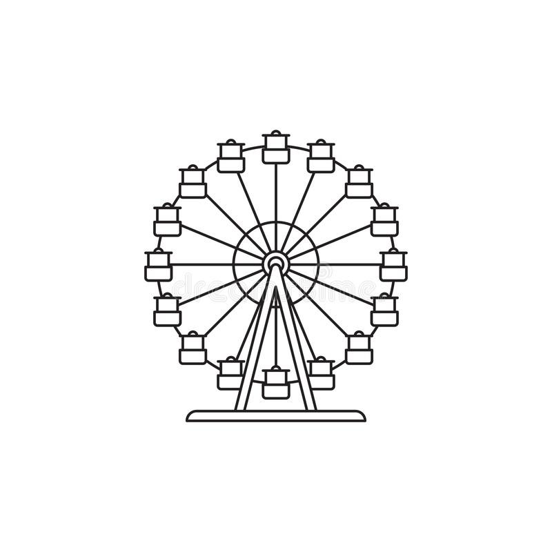 . Ferris wheel icon vector linear design isolated on white background. Park logo template, element for amusement park royalty free illustration