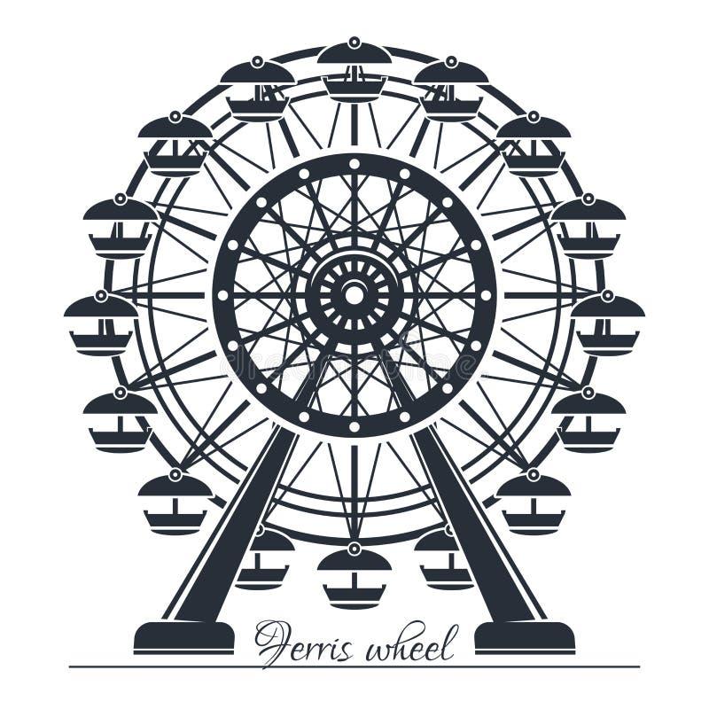 Ferris Wheel Icono del vector aislado en blanco libre illustration