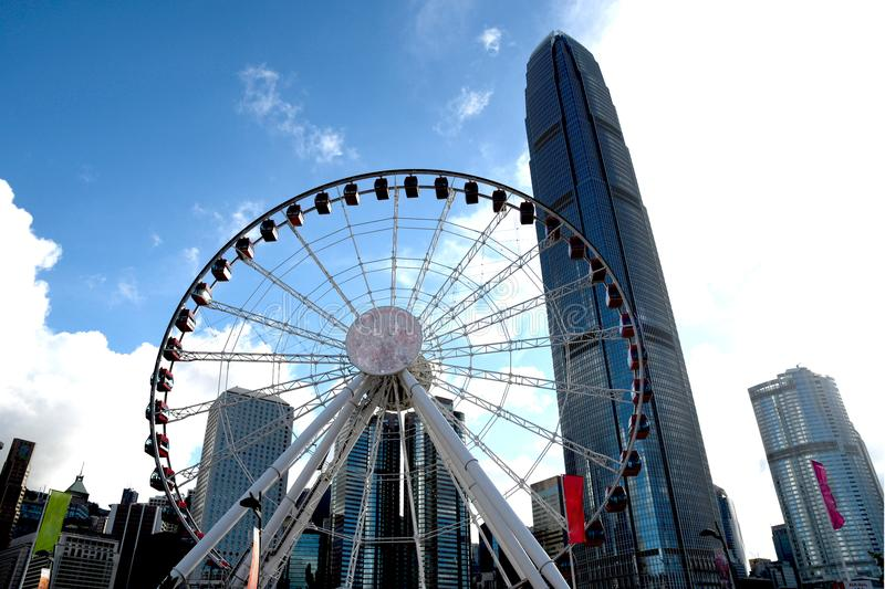 Ferris Wheel and International Finanical Centre in Central Hong Kong stock photos