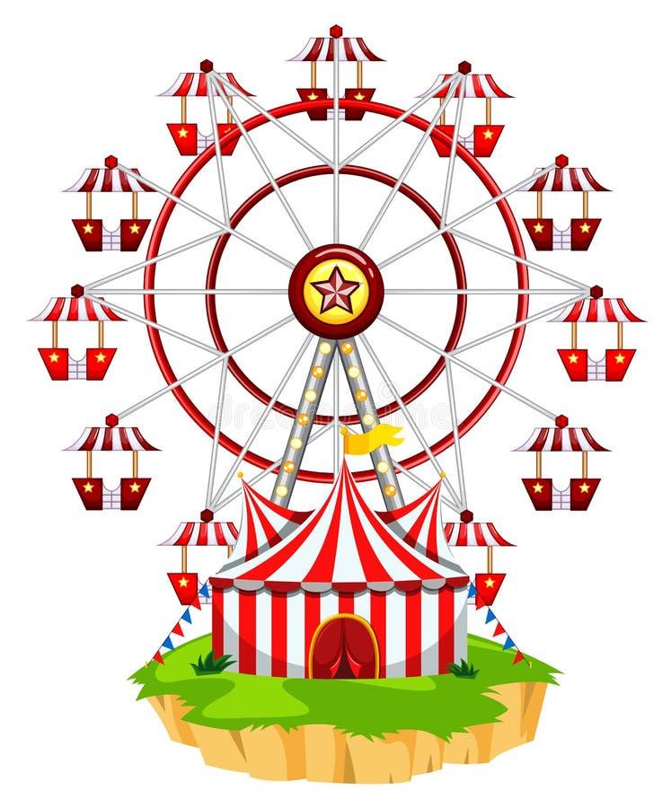 Ferris wheel on island vector illustration