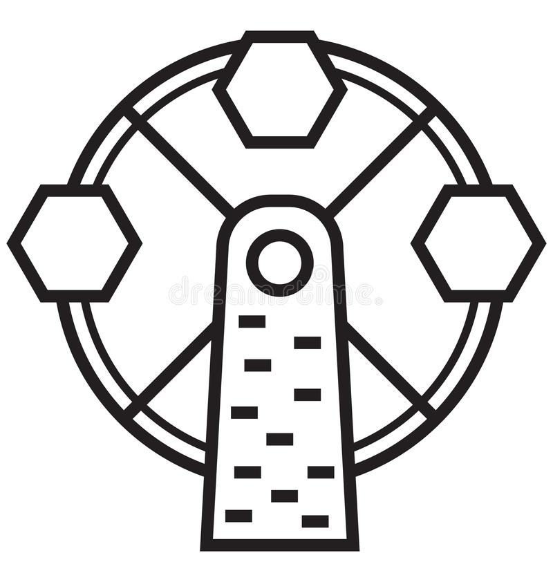 Ferris Wheel Isolated Vector Icon que puede ser modificado o corregir fácilmente ilustración del vector
