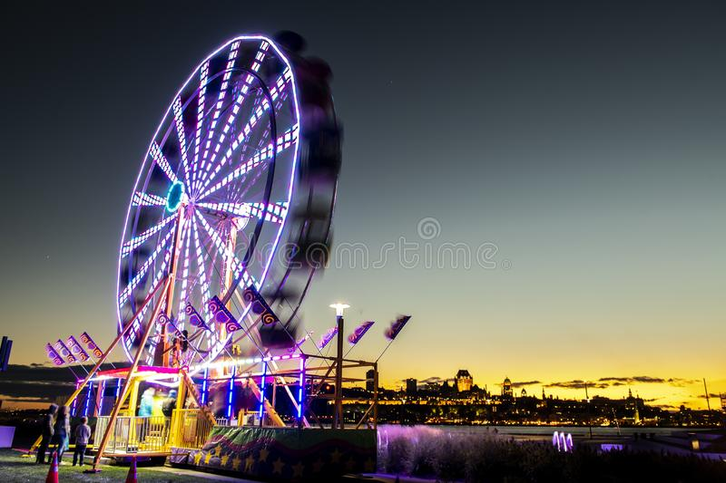 Ferris wheel at Levis Quebec Canada at sunset. The Ferris wheel at Levis Quebec Canada at sunset royalty free stock photos