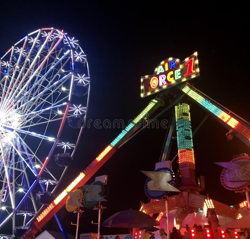 Ferris Wheel in Lights at Night stock image