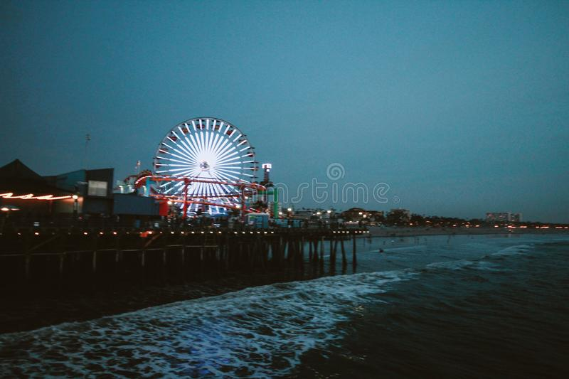 Ferris Wheel Lit during Night Time royalty free stock photo
