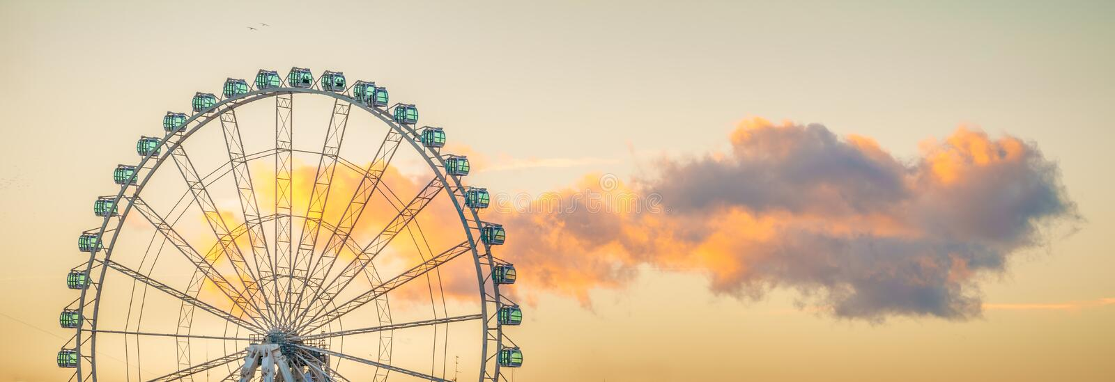 The Ferris Wheel of Malaga. A fun way of check Malaga, Spain, from above is to jump in the ferris wheel located in the marine, and enjoy the ride royalty free stock photography