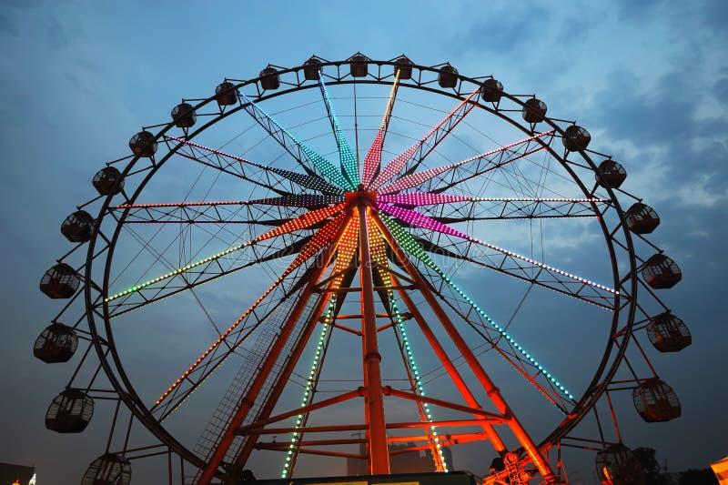 Ferris wheel at night stock photos