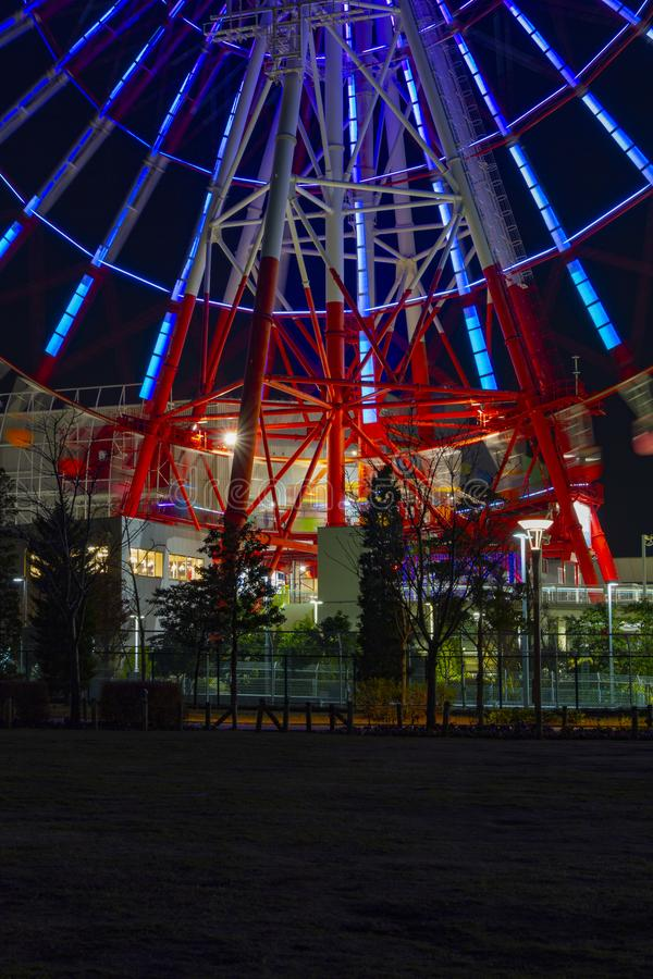 Ferris wheel at night in the amusement park royalty free stock photography