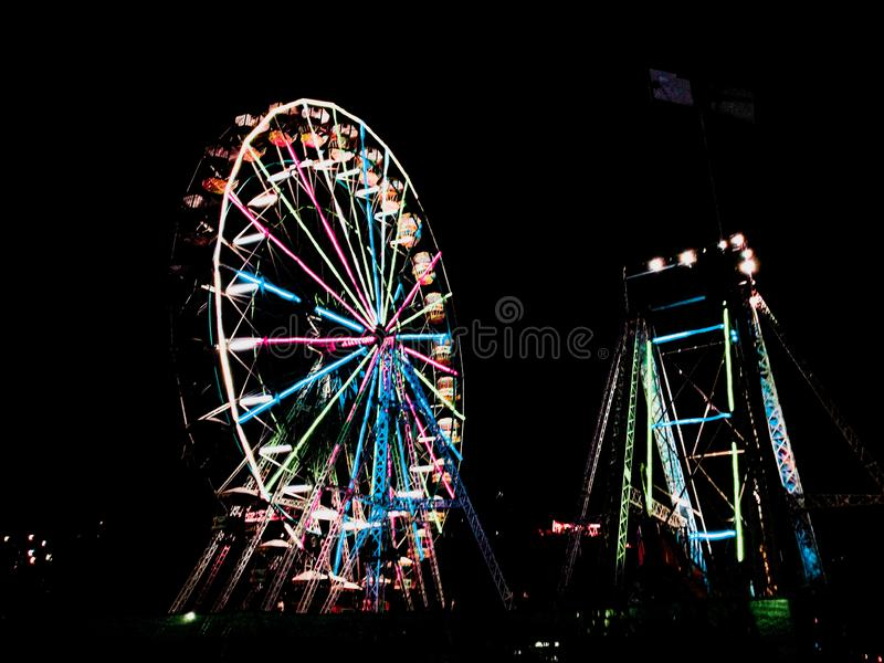 Ferris wheel in the night in pokhara, Nepal royalty free stock photo