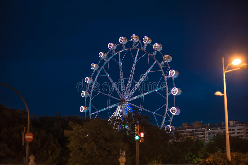Ferris wheel at night in Valencia Spain. Ferris wheel at night,entertainment in Valencia Spain royalty free stock photography