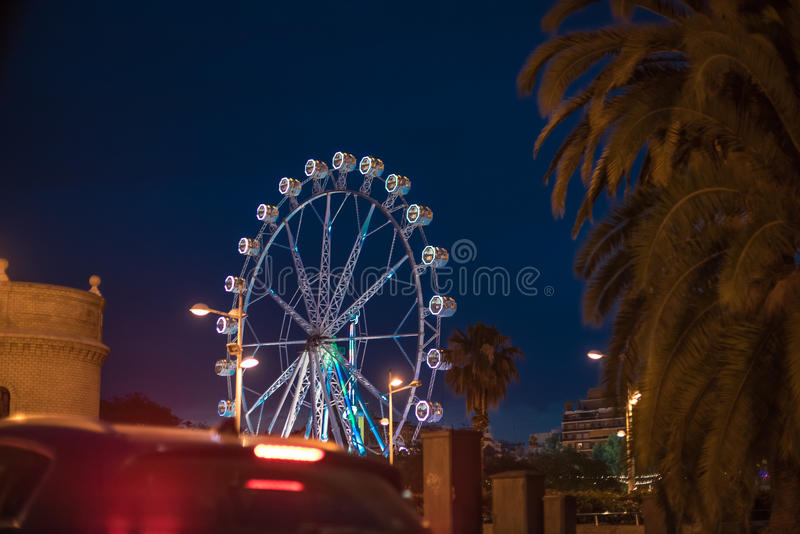 Ferris wheel at night in Valencia Spain. Ferris wheel at night,entertainment in Valencia Spain stock photo
