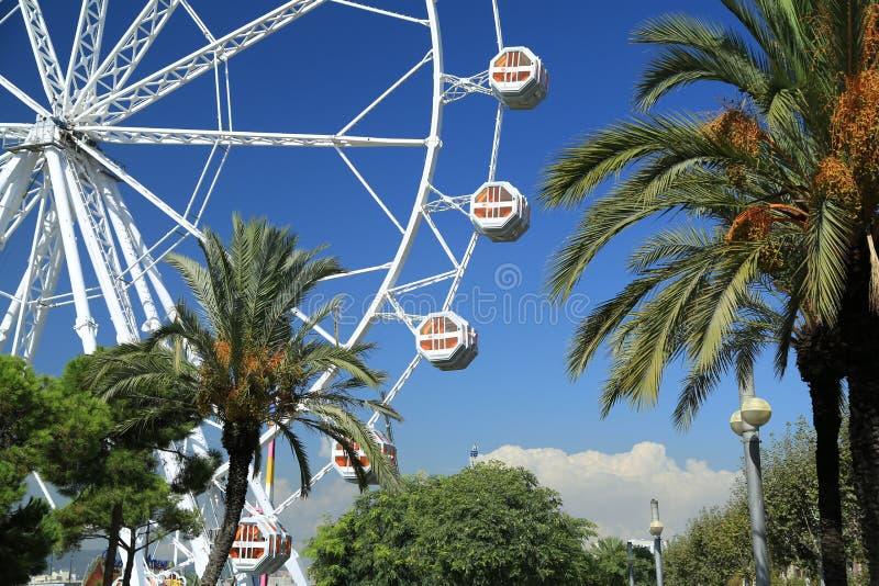 Ferris wheel. Old port Port Vell, Barcelona, Spain. Gondolas of Ferris wheel in old port Port Vell, Barcelona, Spain royalty free stock photos