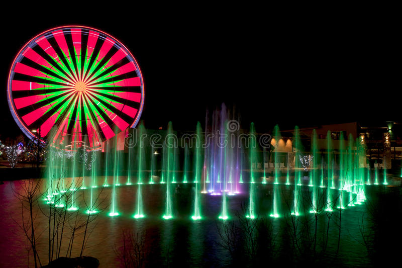 Ferris Wheel in Pigeon Forge, Tennessee during the Christmas Holidays stock images