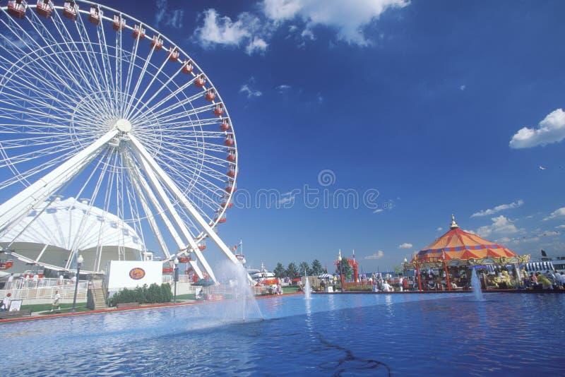 Ferris Wheel, pilier de marine, Chicago, l'Illinois images libres de droits