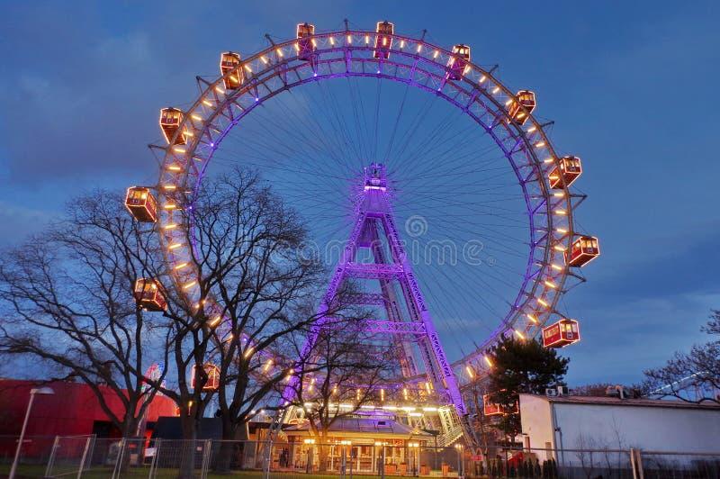 Ferris wheel in Prater, at night - landmark attraction in Vienna, Austria. Ferris wheel in amusement park Prater, at night - landmark attraction in Vienna stock image